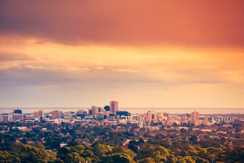 Skyline da cidade de Adelaide imagem de stock