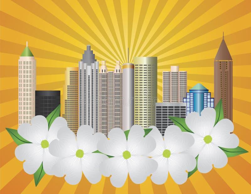 Skyline da cidade de Atlanta Geórgia com Dogwood ilustração do vetor