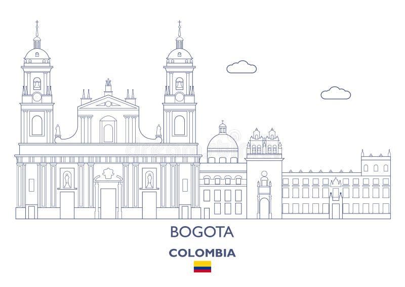Skyline da cidade de Bogotá, Colômbia ilustração do vetor