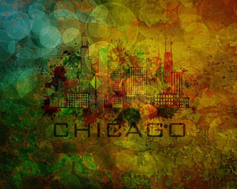 Skyline da cidade de Chicago na ilustração do fundo do Grunge ilustração do vetor