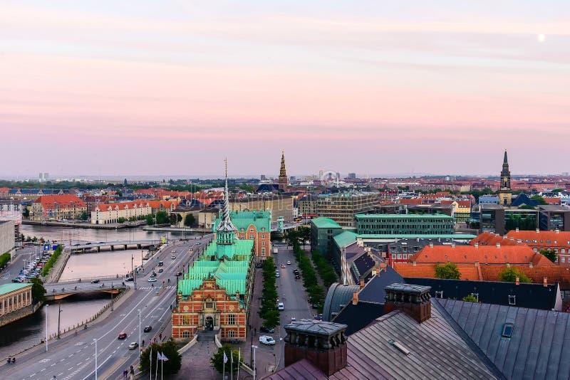 Skyline da cidade de Copenhaga fotografia de stock