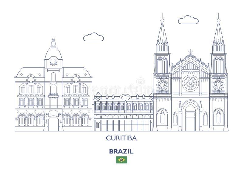 Skyline da cidade de Curitiba, Brasil ilustração stock