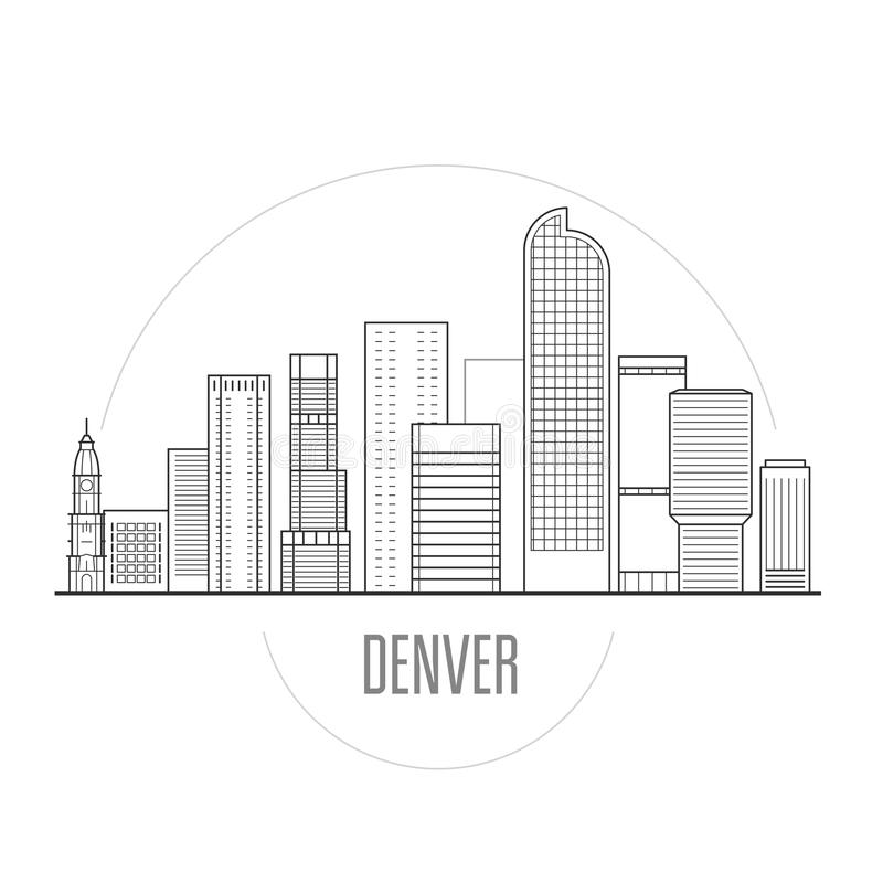 Skyline da cidade de Denver - arquitetura da cidade do centro ilustração royalty free