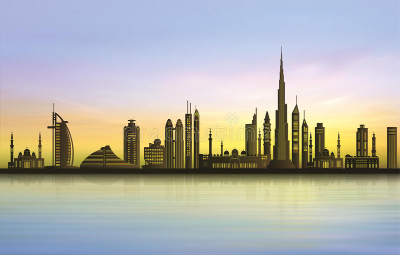 Skyline da cidade de Dubai no por do sol ilustração do vetor