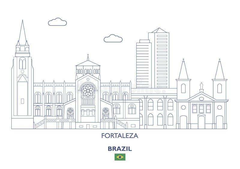Skyline da cidade de Fortaleza, Brasil ilustração do vetor