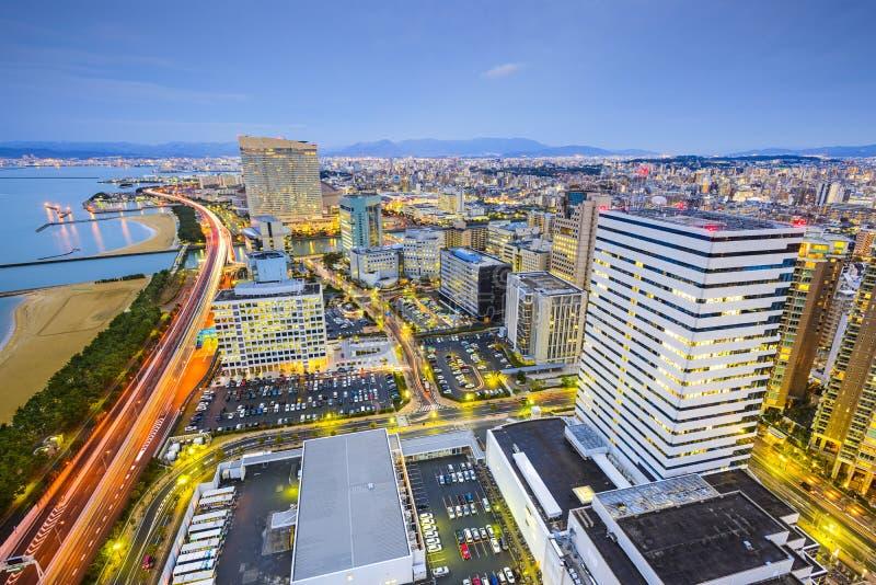 Skyline da cidade de Fukuoka, Japão fotos de stock