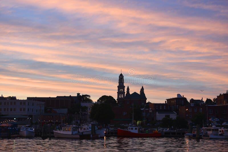 Skyline da cidade de Gloucester, Massachusetts imagens de stock