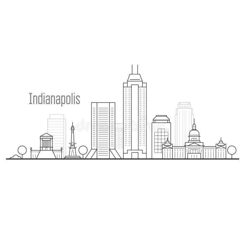 Skyline da cidade de Indianapolis - arquitetura da cidade do centro ilustração stock