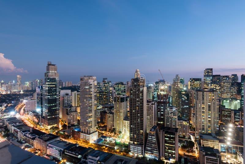Skyline da cidade de Makati, Manila - Filipinas fotografia de stock