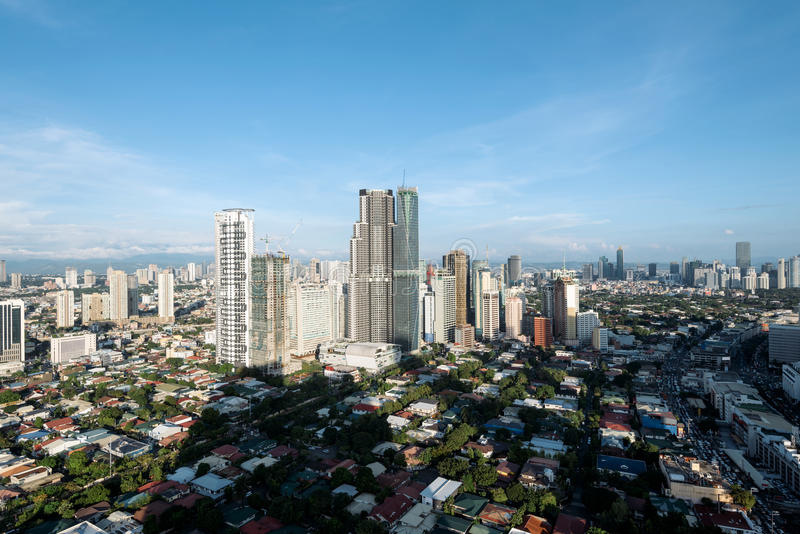 Skyline da cidade de Makati, Manila - Filipinas fotografia de stock royalty free