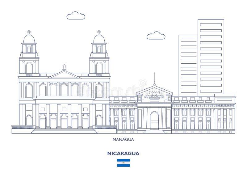 Skyline da cidade de Managua, Nicarágua ilustração do vetor