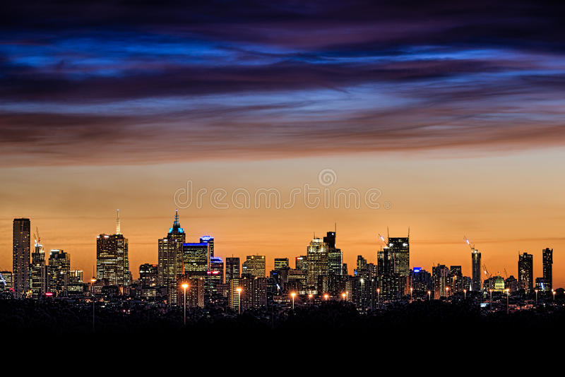Skyline da cidade de Melbourne imagem de stock