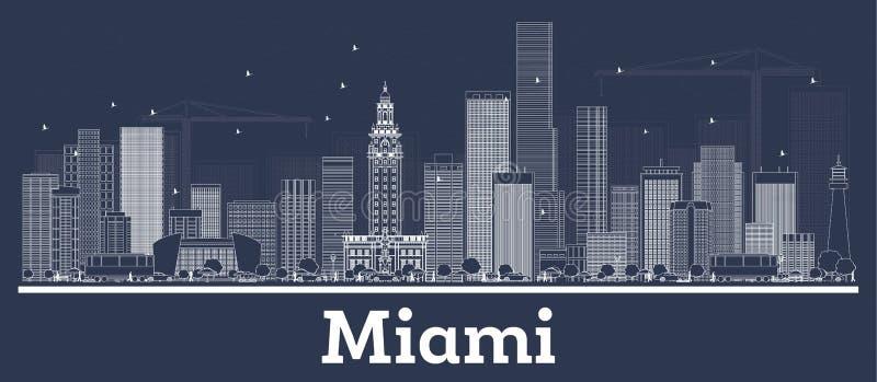 Skyline da cidade de Miami Florida do esbo?o com constru??es brancas ilustração royalty free