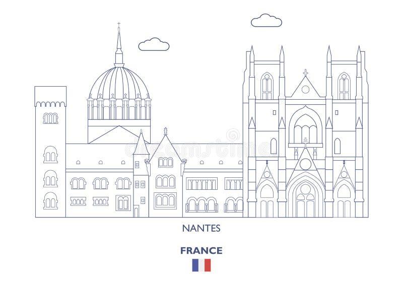 Skyline da cidade de Nantes, França ilustração royalty free