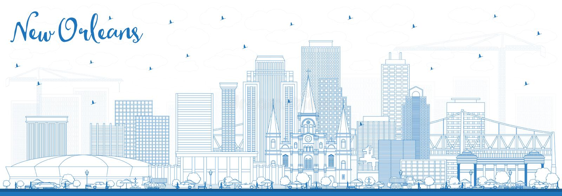 Skyline da cidade de Nova Orleães Louisiana do esboço com construções azuis ilustração do vetor