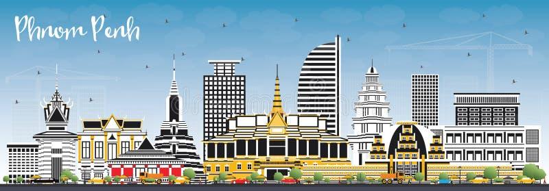 Skyline da cidade de Phnom Penh Camboja com construções da cor e o céu azul ilustração royalty free