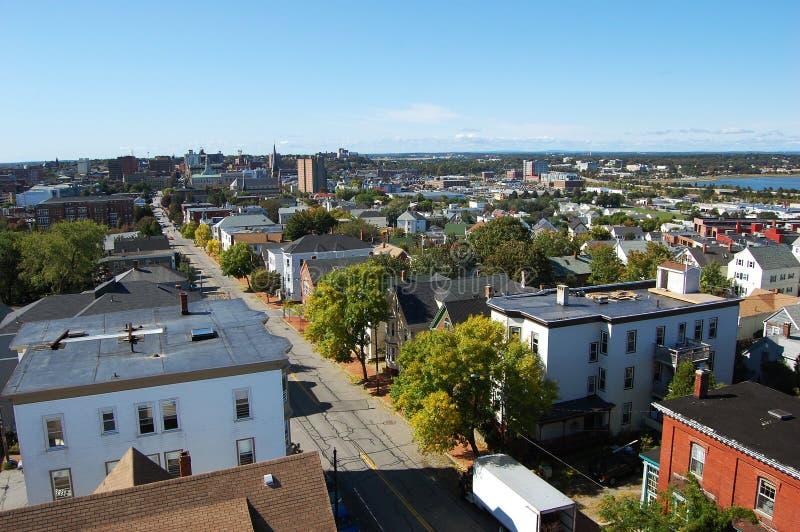 Skyline da cidade de Portland, Maine fotos de stock