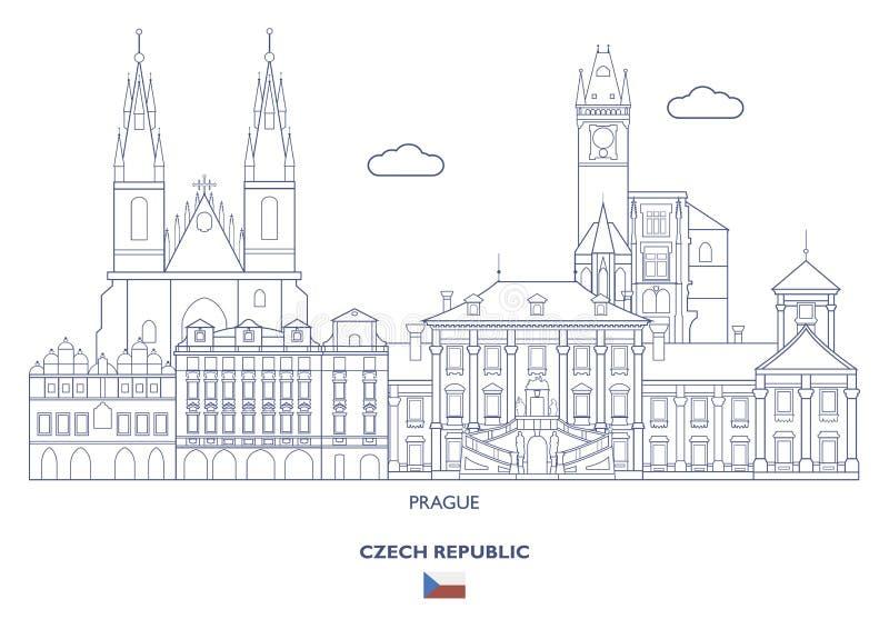 Skyline da cidade de Praga, República Checa ilustração stock