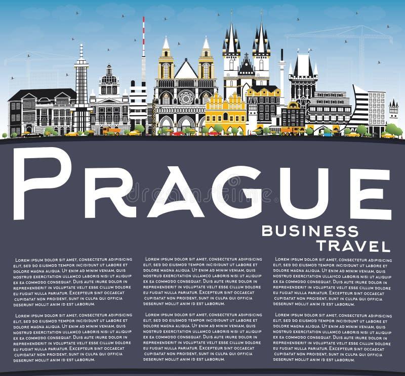 Skyline da cidade de Praga República Checa com construções da cor, o céu azul e o espaço da cópia ilustração stock