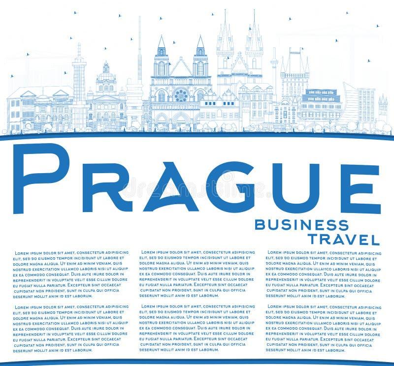 Skyline da cidade de Praga República Checa do esboço com construções e espaço azuis da cópia ilustração royalty free