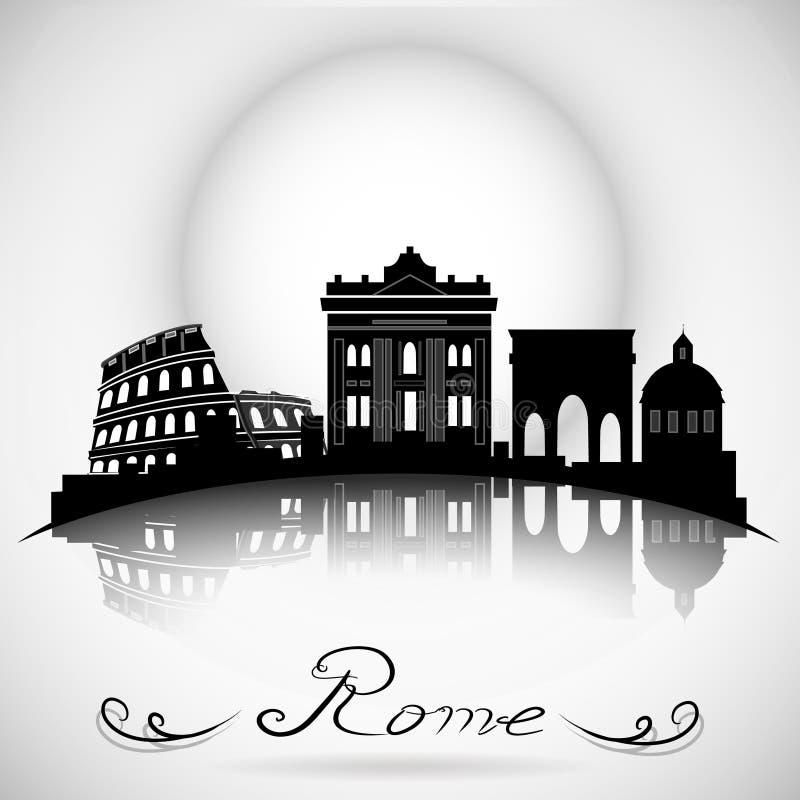 Skyline da cidade de Roma com reflexão Projeto tipográfico ilustração do vetor