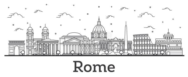 Skyline da cidade de Roma Itália do esboço com as construções históricas isoladas no branco ilustração stock