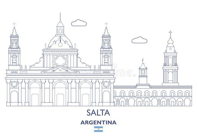 Skyline da cidade de Salta, Argentina ilustração do vetor