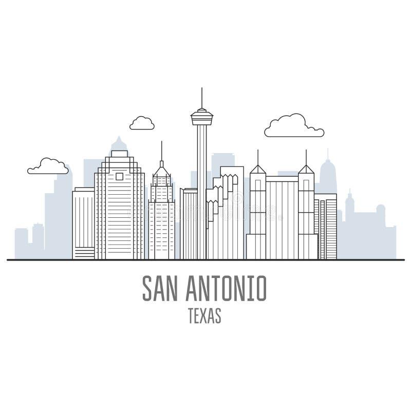 Skyline da cidade de San Antonio - arranha-céus de San Antonio, arquitetura da cidade ilustração stock
