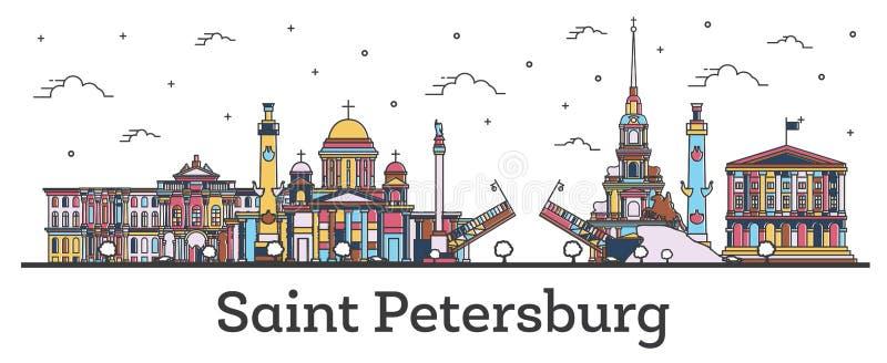Skyline da cidade de St Petersburg Rússia do esboço com as construções da cor isoladas no branco ilustração do vetor