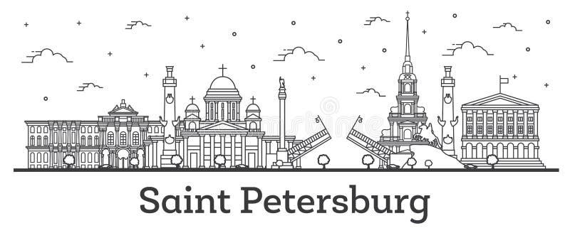 Skyline da cidade de St Petersburg Rússia do esboço com as construções históricas isoladas no branco ilustração royalty free