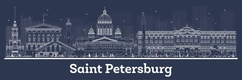 Skyline da cidade de St Petersburg Rússia do esboço com construções brancas ilustração do vetor