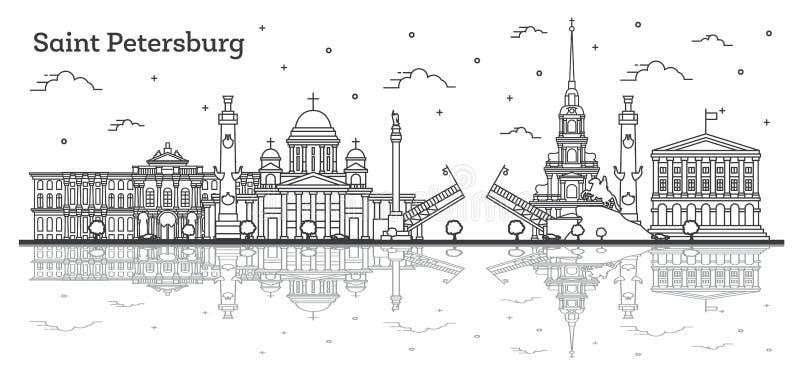 Skyline da cidade de St Petersburg Rússia do esboço com construções históricas e reflexões isoladas no branco ilustração royalty free