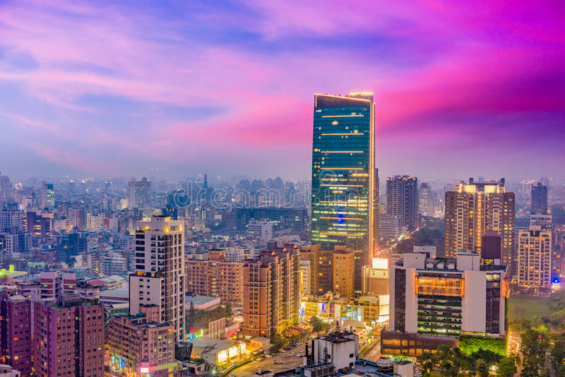 Skyline da cidade de Taichung, Taiwan foto de stock