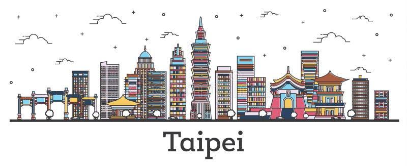 Skyline da cidade de Taipei Taiwan do esboço com as construções da cor isoladas no branco ilustração do vetor