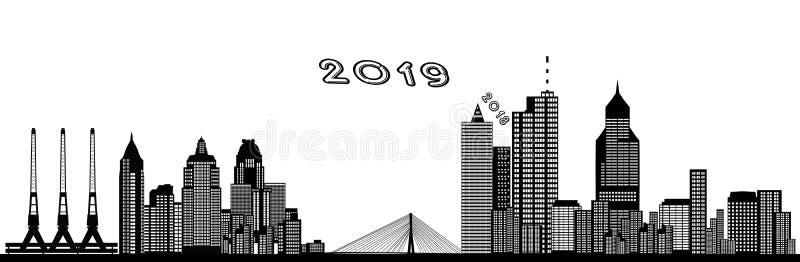 Skyline 2019 da cidade do ano novo desde 2018 ilustração stock