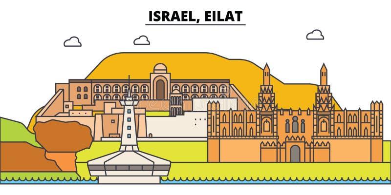 Skyline da cidade do esboço de Israel, Eilat, ilustração linear, bandeira, marco do curso, silhueta das construções, vetor ilustração do vetor