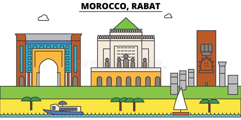 Skyline da cidade do esboço de Marrocos, Rabat, ilustração linear, bandeira, marco do curso, silhueta das construções, vetor ilustração royalty free