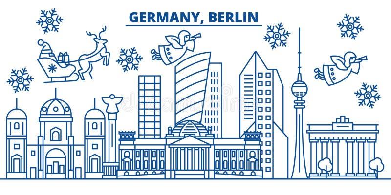 Skyline da cidade do inverno de Alemanha, Berlim Feliz Natal, ano novo feliz ilustração stock