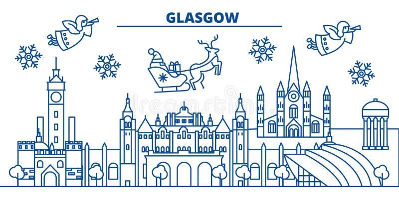 Skyline da cidade do inverno de Escócia, Glasgow Feliz Natal, ilustração royalty free
