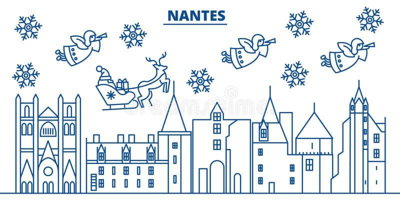 Skyline da cidade do inverno de França, Nantes Feliz Natal, ano novo feliz ilustração do vetor