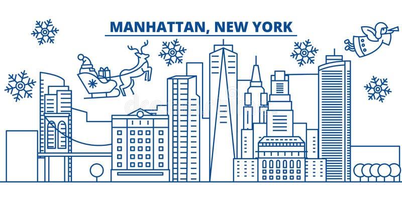 Skyline da cidade do inverno dos EUA, New York, Manhattan O Feliz Natal e o ano novo feliz decoraram a bandeira Cartão do inverno ilustração stock