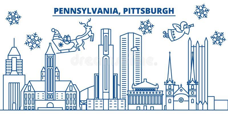 Skyline da cidade do inverno dos EUA, Pensilvânia, Pittsburgh O Feliz Natal e o ano novo feliz decoraram a bandeira cumprimento d ilustração do vetor