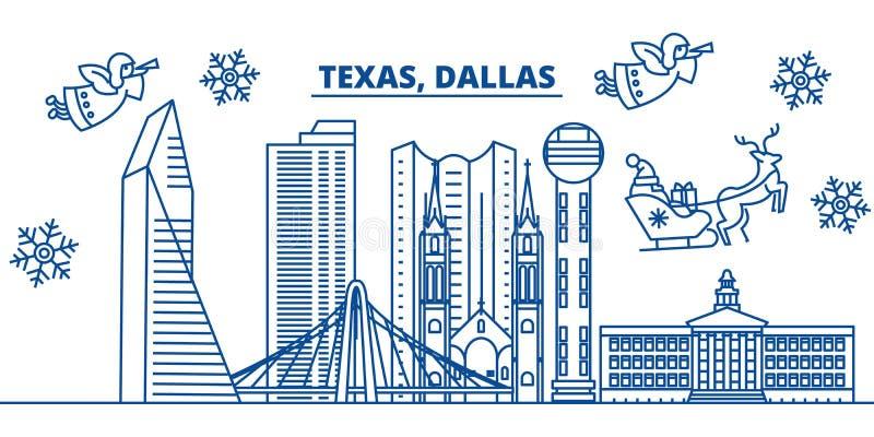 Skyline da cidade do inverno dos EUA, Texas, Dallas O Feliz Natal e o ano novo feliz decoraram a bandeira Cartão do inverno com ilustração royalty free