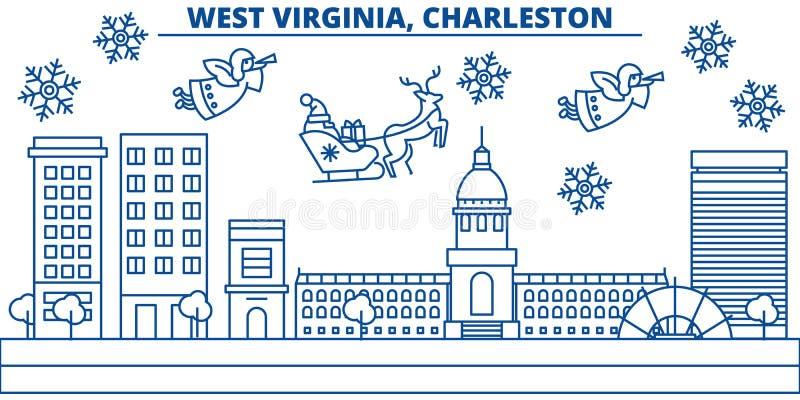 Skyline da cidade do inverno dos EUA, West Virginia, Charleston O Feliz Natal e o ano novo feliz decoraram a bandeira cumprimento ilustração stock