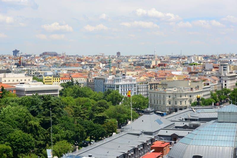 Skyline da cidade do Madri, Espanha fotografia de stock