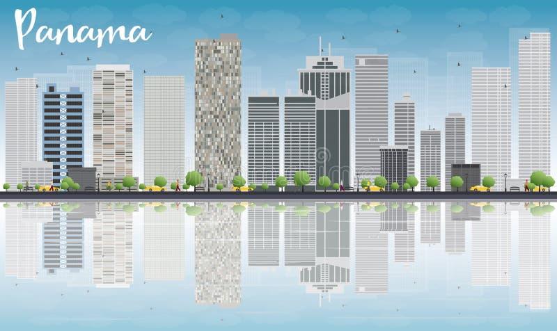 Skyline da Cidade do Panamá com arranha-céus cinzentos e reflexões ilustração royalty free