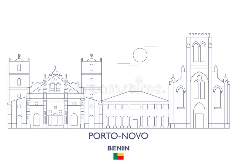 Skyline da cidade do Porto-Novo, Benin ilustração stock