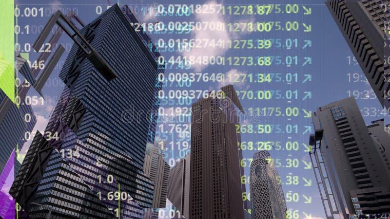 Skyline da cidade do Tóquio com código e dados imagem de stock