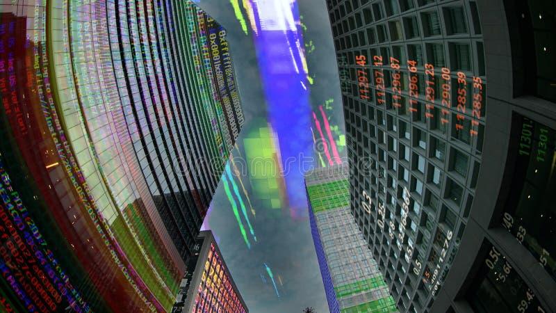 Skyline da cidade do Tóquio com código e dados fotografia de stock
