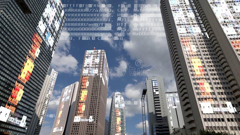 Skyline da cidade do Tóquio com código e dados fotos de stock royalty free